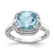 925 Sterling Silver Rhodium Plated Diamond and Checker cut Light Blue Topaz Engagement Ring Size 10 (3.9ct)