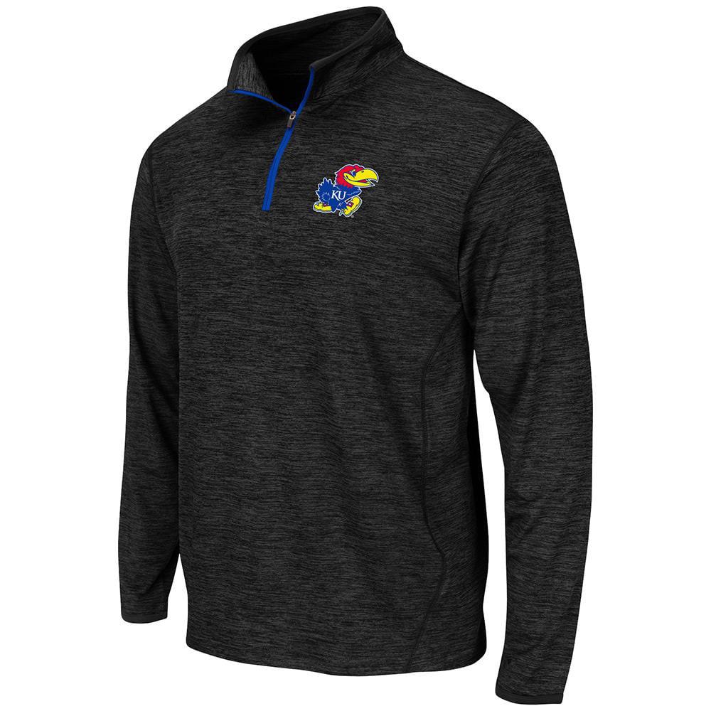 Mens NCAA Kansas Jayhawks Action Pass Long Sleeve Quarter Zip Tee Shirt