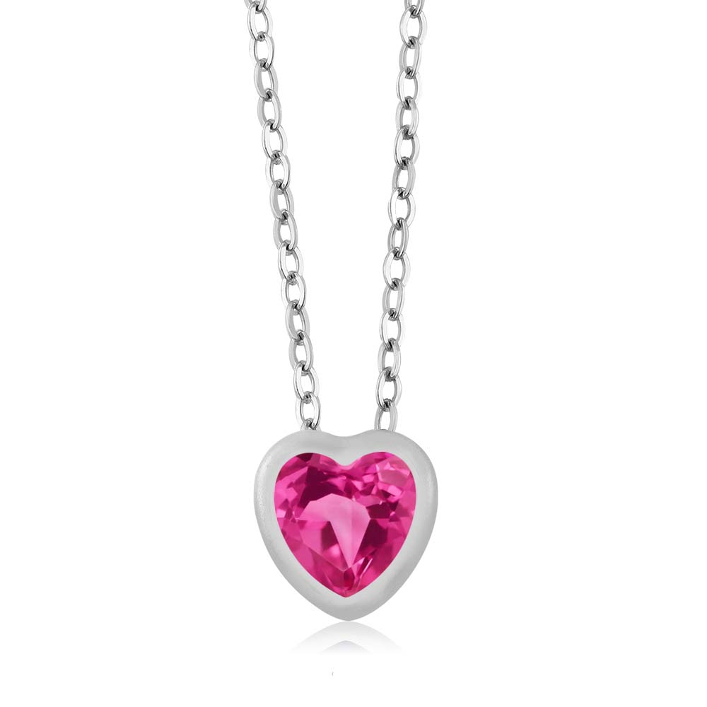0.90 Ct Heart Shape Pink Mystic Topaz 10k White Gold Pendant