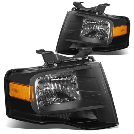 For 2007 to 2014 Ford Expedition U324 Pair of Headlight Black Housing Amber Corner Headlamp 08 09 10 11 12 13 Left+Right