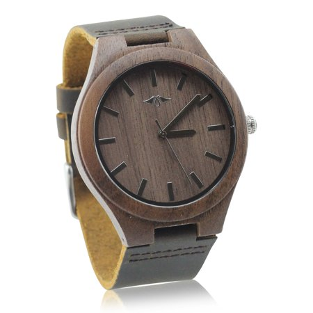 Angie Wood Creations Walnut Men's Watch With Walnut Dial and Leather Strap - image 4 de 7