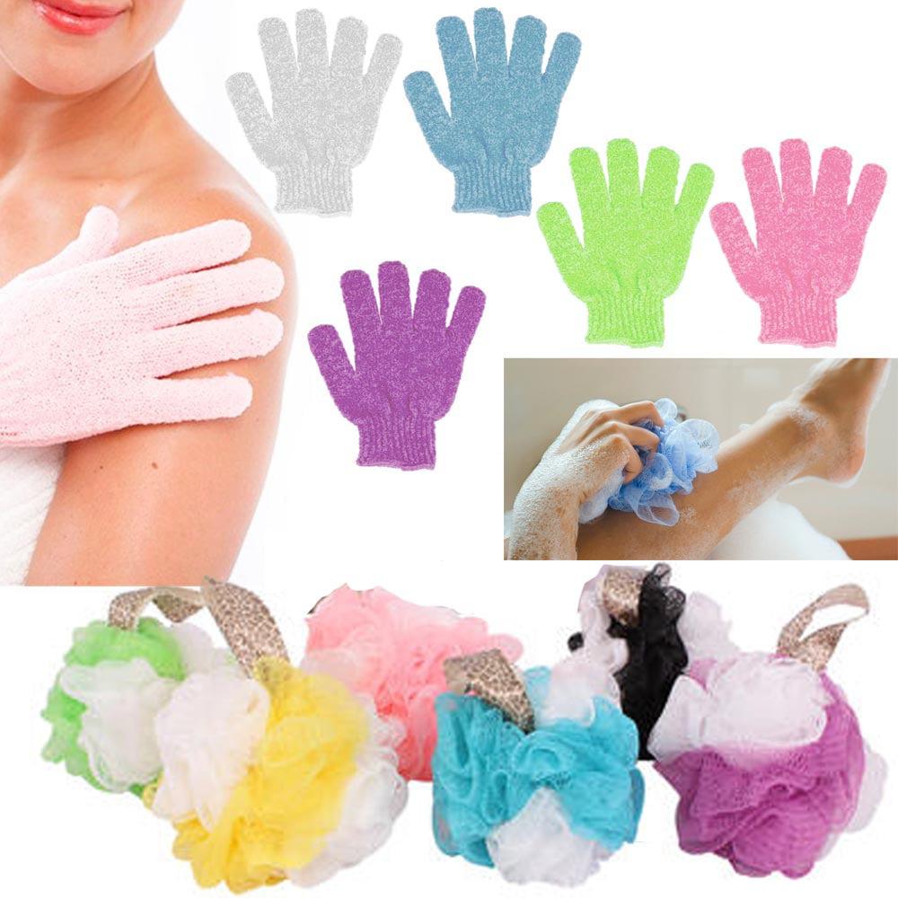2 Pc Shower Bath Glove Ball Wash Skin Spa Massage Scrub Loofah Body Scrubber New