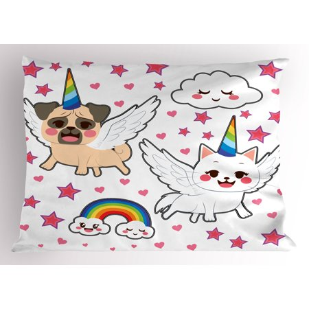 Unicorn Cat Pillow Sham Comic Pop Art Style Fiction Animals Adorable Funny Faces Rainbow Horns Stars, Decorative Standard Queen Size Printed Pillowcase, 30 X 20 Inches, Multicolor, by - Rainbow Animal Print
