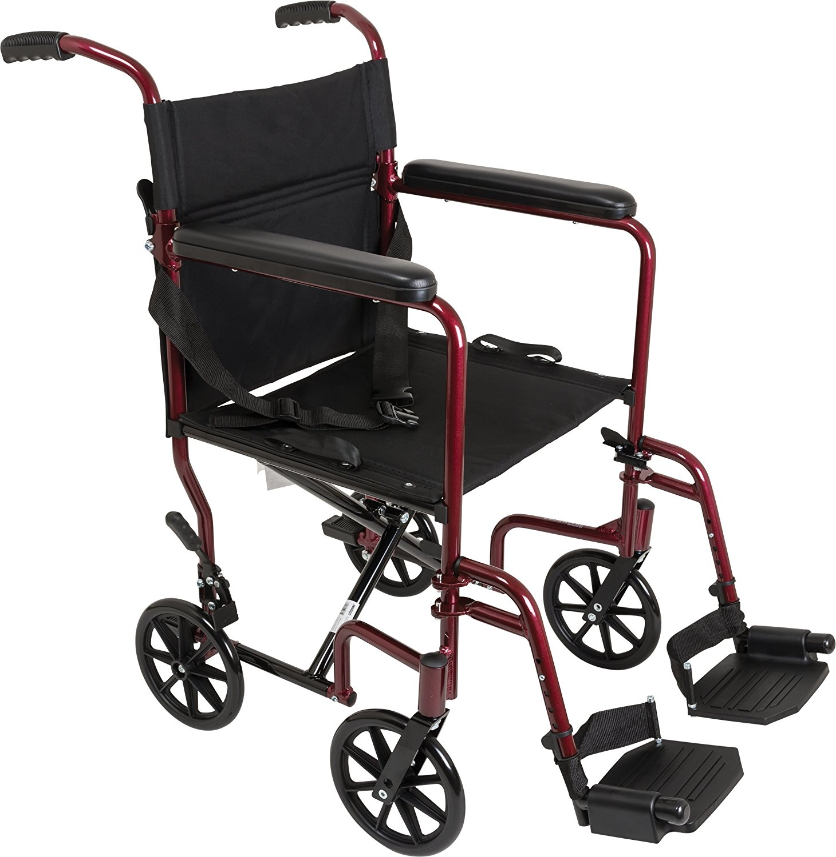 ProBasics Medical Transport Chair:; TCA1916BG LIGHTWEIGHT Aluminum Transport Wheelchair, Burgundy