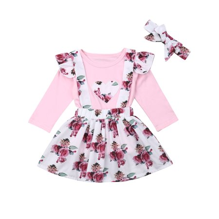 2019 Autumn Infant Toddler Baby Girl Clothes Long Sleeve Ploka Dots Tie Blouse Tops Floral Skirt Outfit Two Piece Princess