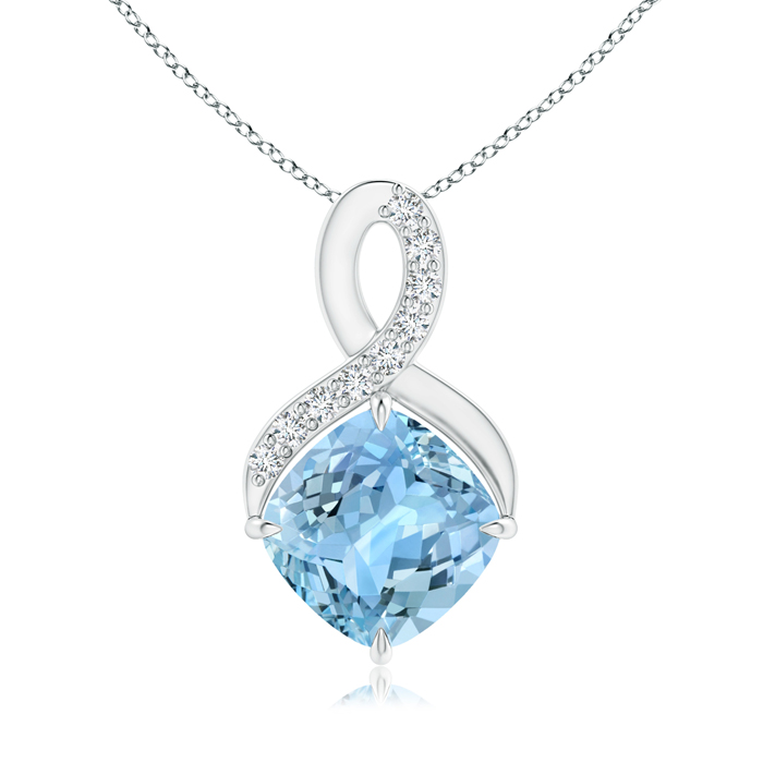 March Birthstone Pendant Necklaces Solitaire Claw Cushion Aquamarine Infinity Symbol Pendant with Diamonds in .925... by Angara.com