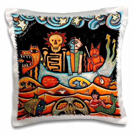 3dRose The Devil s Dream folk art skulls mexican colorful surrealism - Pillow Case, 16 by 16-inch Colorful Mexican Folk Art