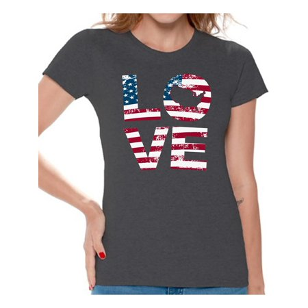 Awkward Styles American Flag Love Women Shirt Gifts for Women 4th of July T shirt for Women Independence Day USA Love Women Tshirt One Nation 4th of July T-shirt for Women Free to Be