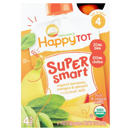 Happy Tot Organics Super Smart Fruit & Veggie Blend Stage 4 Tots & Tykes, 4 oz, 4 Count