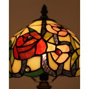 Stained Glass Shade Tiffany Style Table Lamp With Rose Bud Patterns