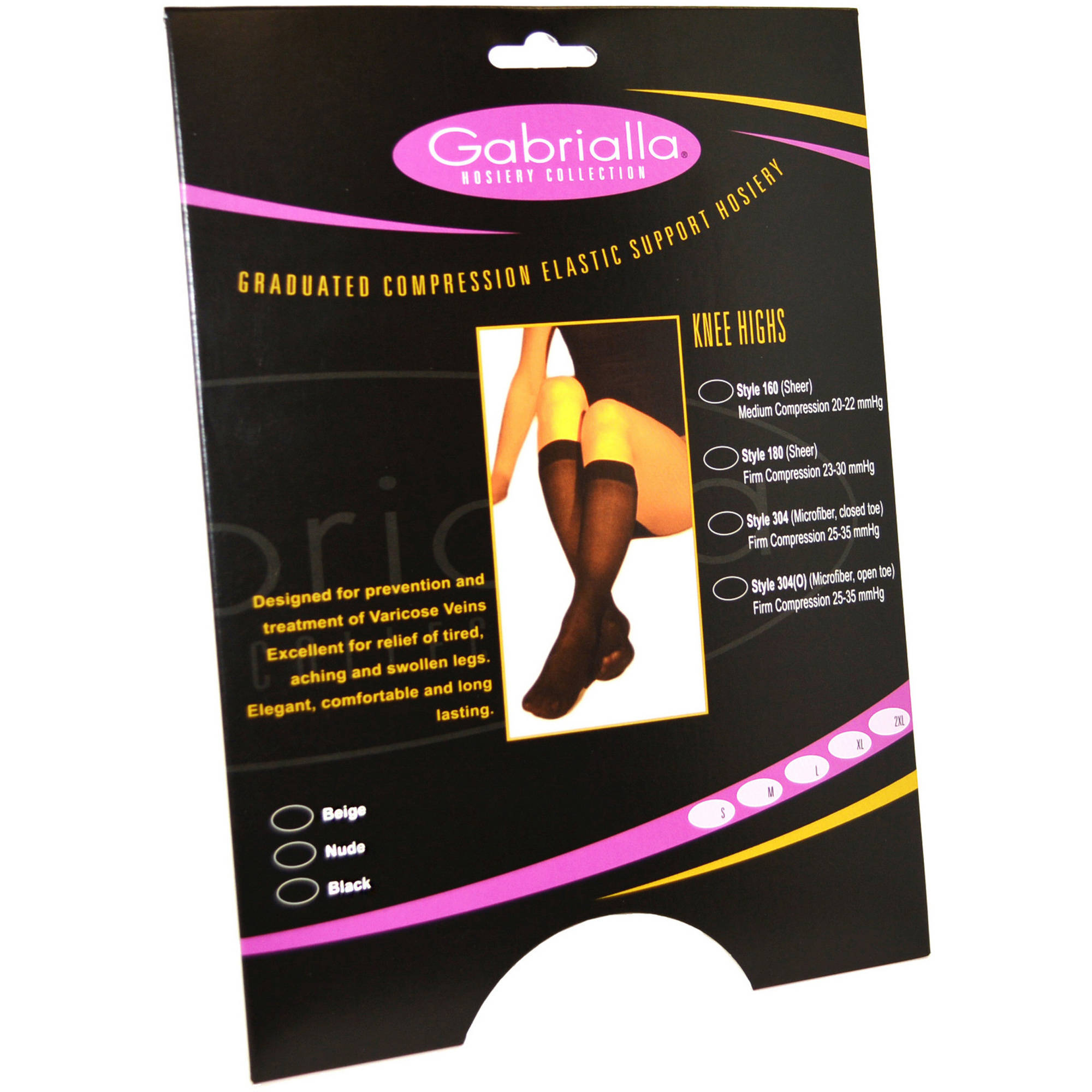 GABRIALLA Open Toe Knee Highs - Compression (25-35 mmHg): H-304(O)