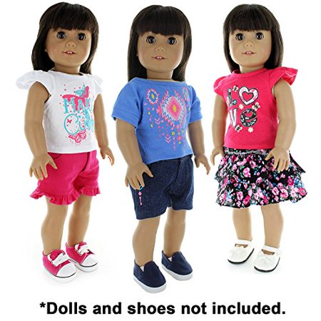 Pink Butterfly Closet Doll Clothes - 6 Pieces Mix and Match Clothes Outfit Fits American Girl Doll and Other 18 inch Dolls - image 2 of 4