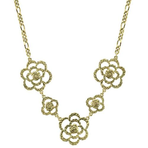 "1928 Jewelry Women's Alloy Gold-Tone Hammered Flower Vintage Necklace 18"" NEW"