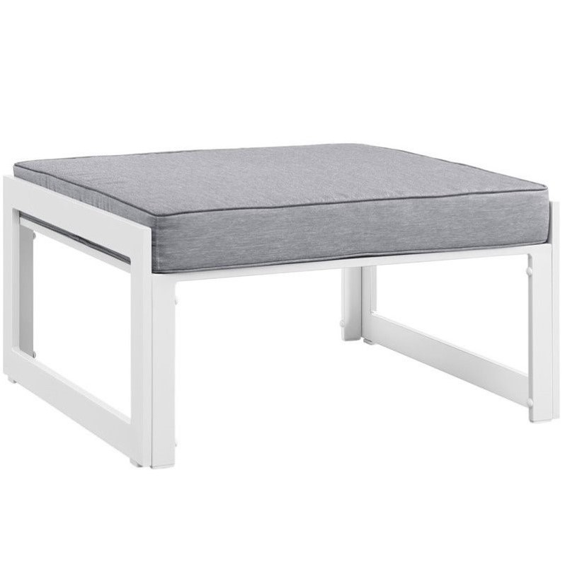 Hawthorne Collection Outdoor Patio Ottoman in White and Gray