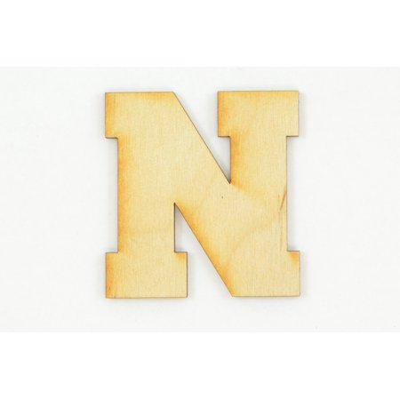 1 Pc, 3 Inch X 1/4 Inch Thick Collegiate Font Wood Letters N Easy To Paint Or Decorate For Indoor Use Only