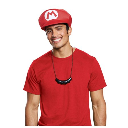 Super Mario Bros. Mario Hat & Mustache Necklace Halloween Costume Accessory - Halloween Costumes For Bros