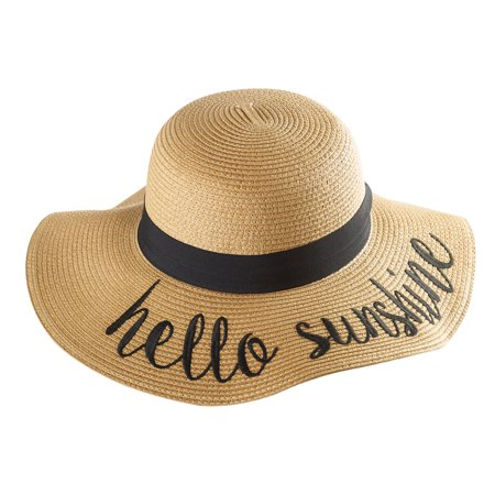 Women S Embroidered Straw Hats Summer Gardening Wide Band Hello Sunshine