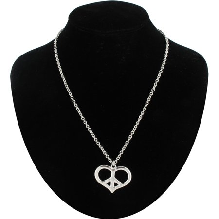 Peace Sign Heart Silver Tone Pendant Hippie Chain -