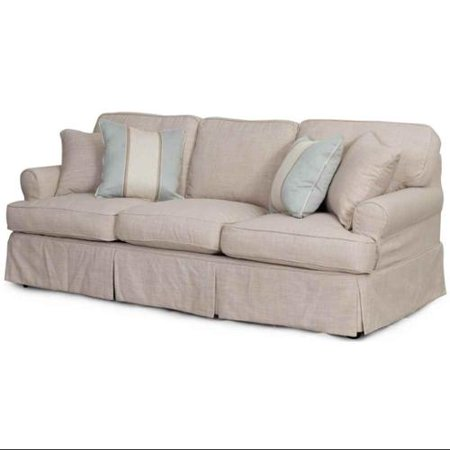4-Pc Contemporary Sofa Slip Cover Set with Welt Pattern in Linen ...