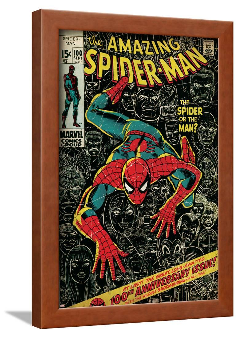 Comic Book Wall Art Part - 19: Marvel Comics Retro: The Amazing Spider-Man Comic Book Cover No.100, 100th  Anniversary Issue (aged) Framed Print Wall Art - Walmart.com
