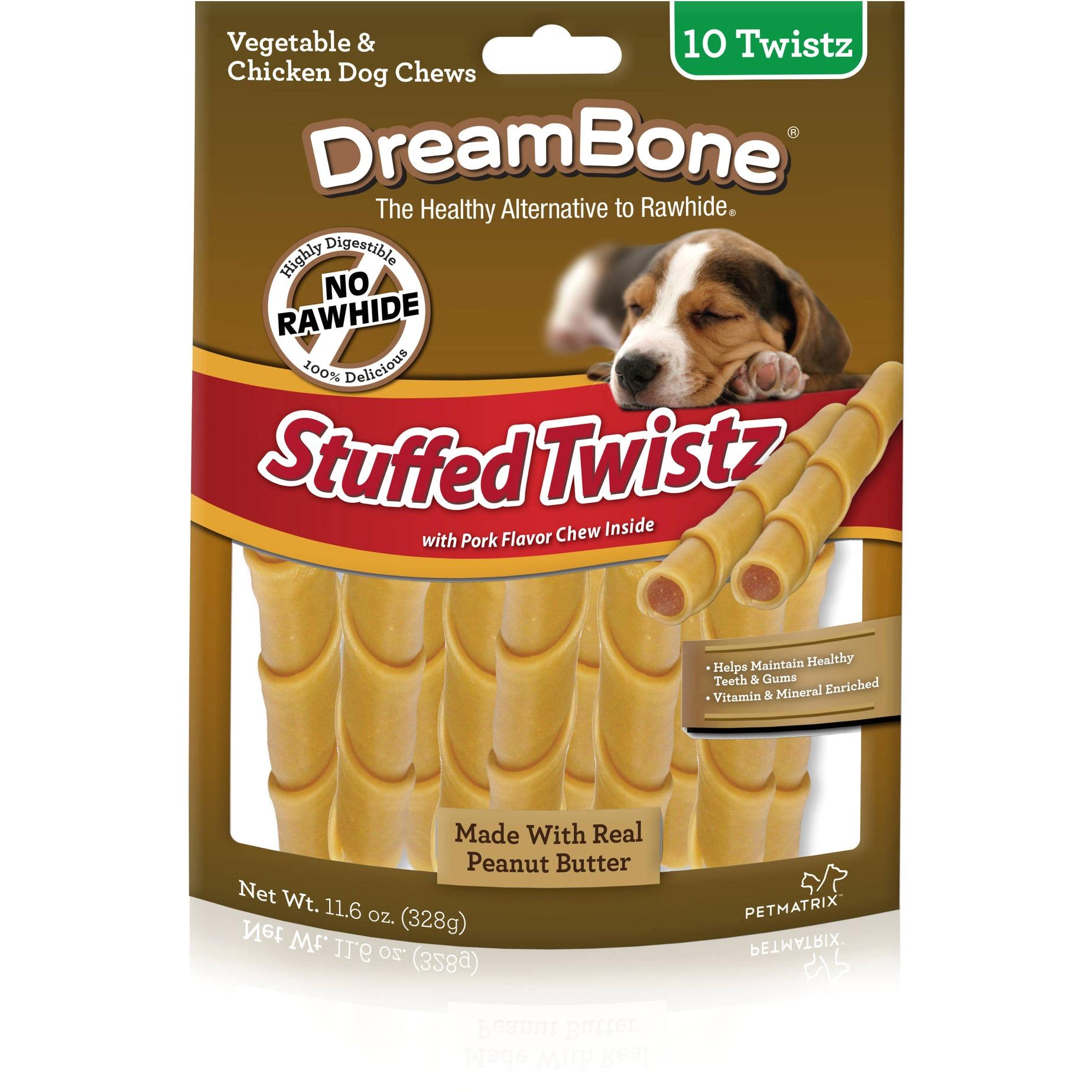 DreamBone Stuffed Twistz Dog Chew w/ Peanut Butter & Pork, 10-Count