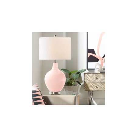 Color Plus Modern Table Lamp Rose Pink Glass Ovo White Linen Drum Shade for  Living Room Family Bedroom Bedside Nightstand Office