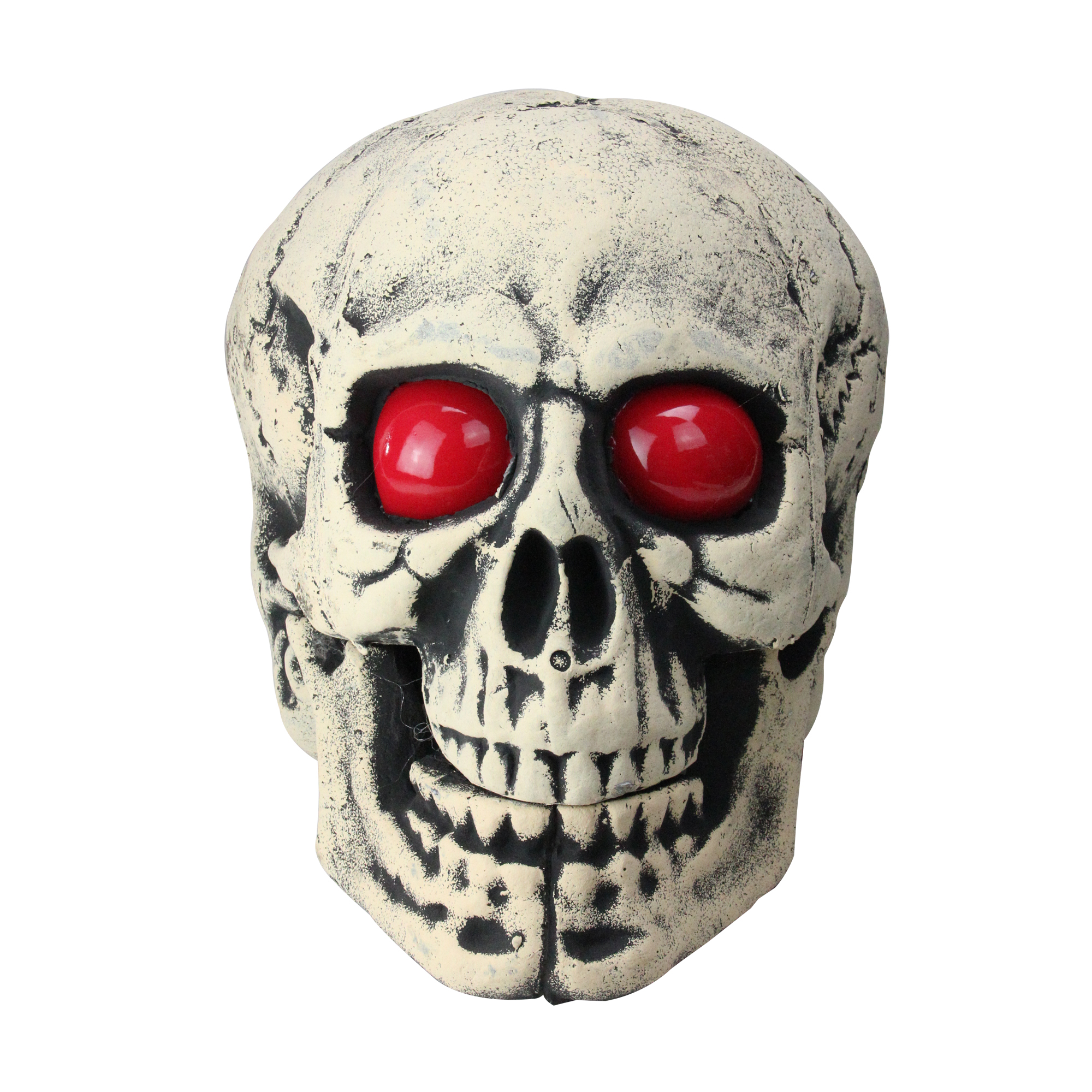 """18"""" Lighted Skull Head with Red Eyes Halloween Table Top Decoration"""