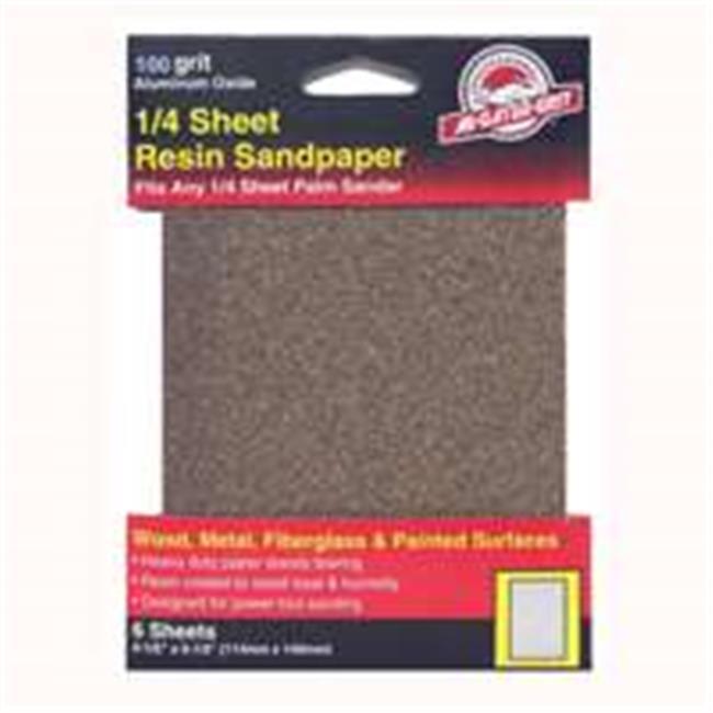 Ali Industries 5032 100 Grit Sandpaper Aluminum Oxide .25 Sheet - 6 Pack - image 1 of 1