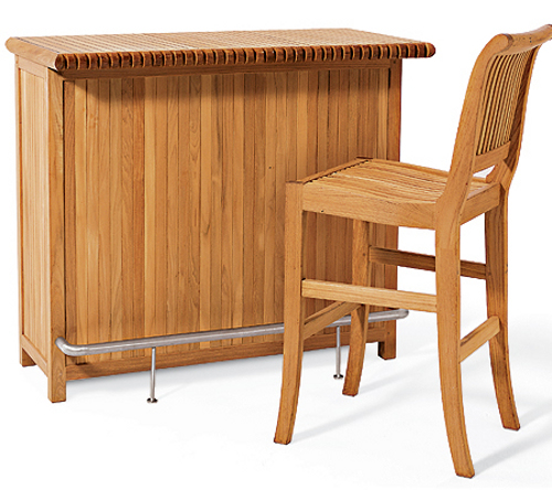 WholesaleTeak Outdoor Patio Grade A Teak Wood Giva 3 Piece Bar Set   Bar  Cabinet