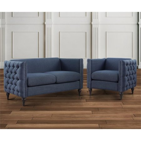 - Furniture of America Bently Tufted 2 Piece Love Seat Set in Blue