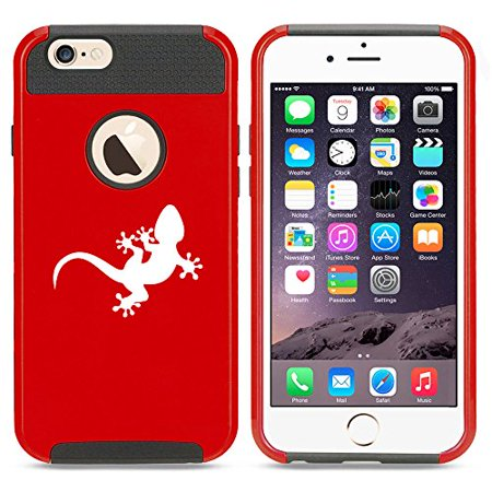 For Apple iPhone 7 Shockproof Impact Hard Soft Case Cover Gecko Lizard (Red)
