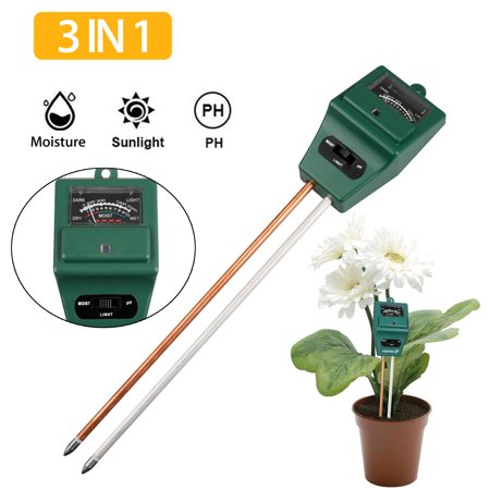 Soil PH Meter, 3-in-1 Soil Tester Kits with Moisture,Light and PH Test for Garden, Farm, Lawn, Indoor & Outdoor (No Battery
