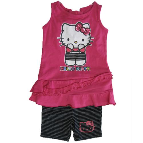 Hello Kitty Little Girls Fuchsia Lace Applique Adorned 2 Pc Shorts Set 4T