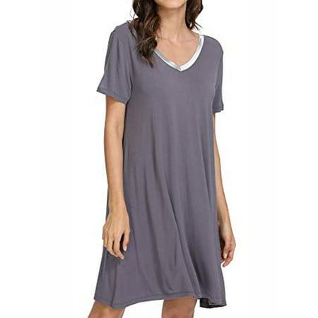 LELINTA Womens Nightgown Sleepwear Cotton Pajamas V Neck Bamboo Nightgown, Woman Short Sleeve Sleep Dress Nightshirt, M-XXL