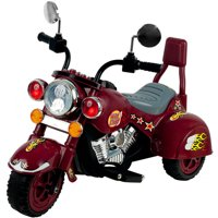 3 Wheel Trike Chopper Motorcycle, Ride on Toy for Kids by Rockin' Rollers - Battery Powered Ride on Toys for Boys and Girls, Toddler and Up - Dark Red