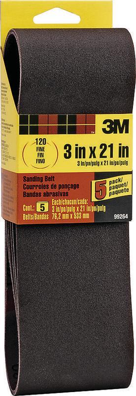 3M Sanding Belt, 3 in. x 21 in., 120 Grit, Fine, 5 Pack by Overstock