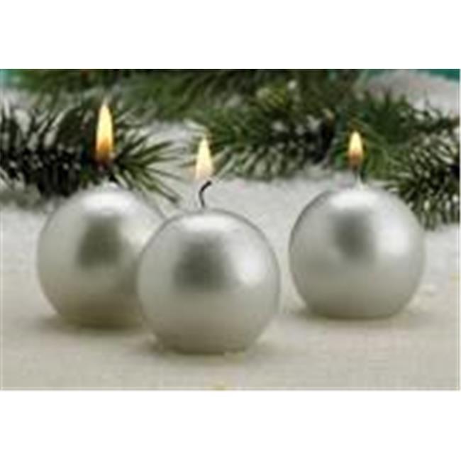 Biedermann & Sons Metallic Ball Candles, Box of 12, Red, 1.5-Inch Diameter