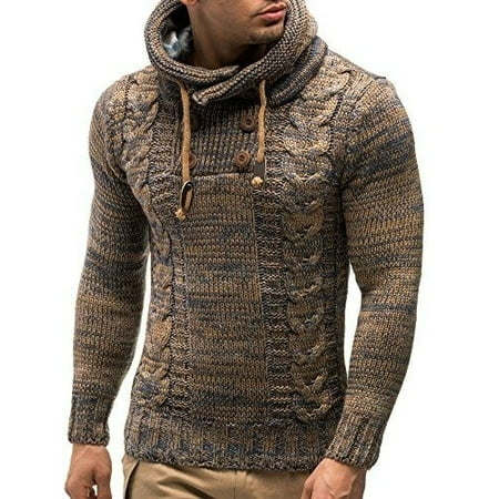 Autumn Winter Men'S Knit Pullovers Hooded Casual Male Sweater (Knitted Sweater With Hood)