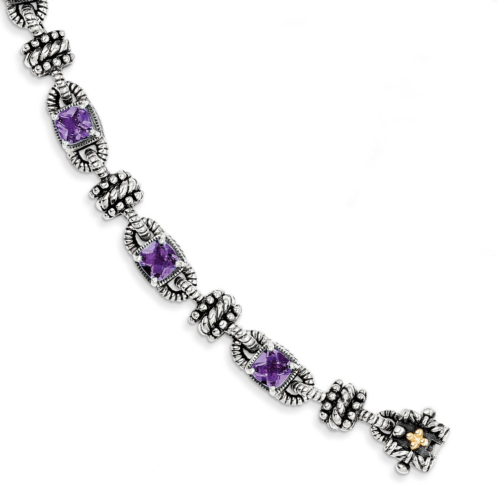 Sterling Silver With 14k Yellow Amethyst Antiqued Bracelet 5.14 cwt by Jewelryweb