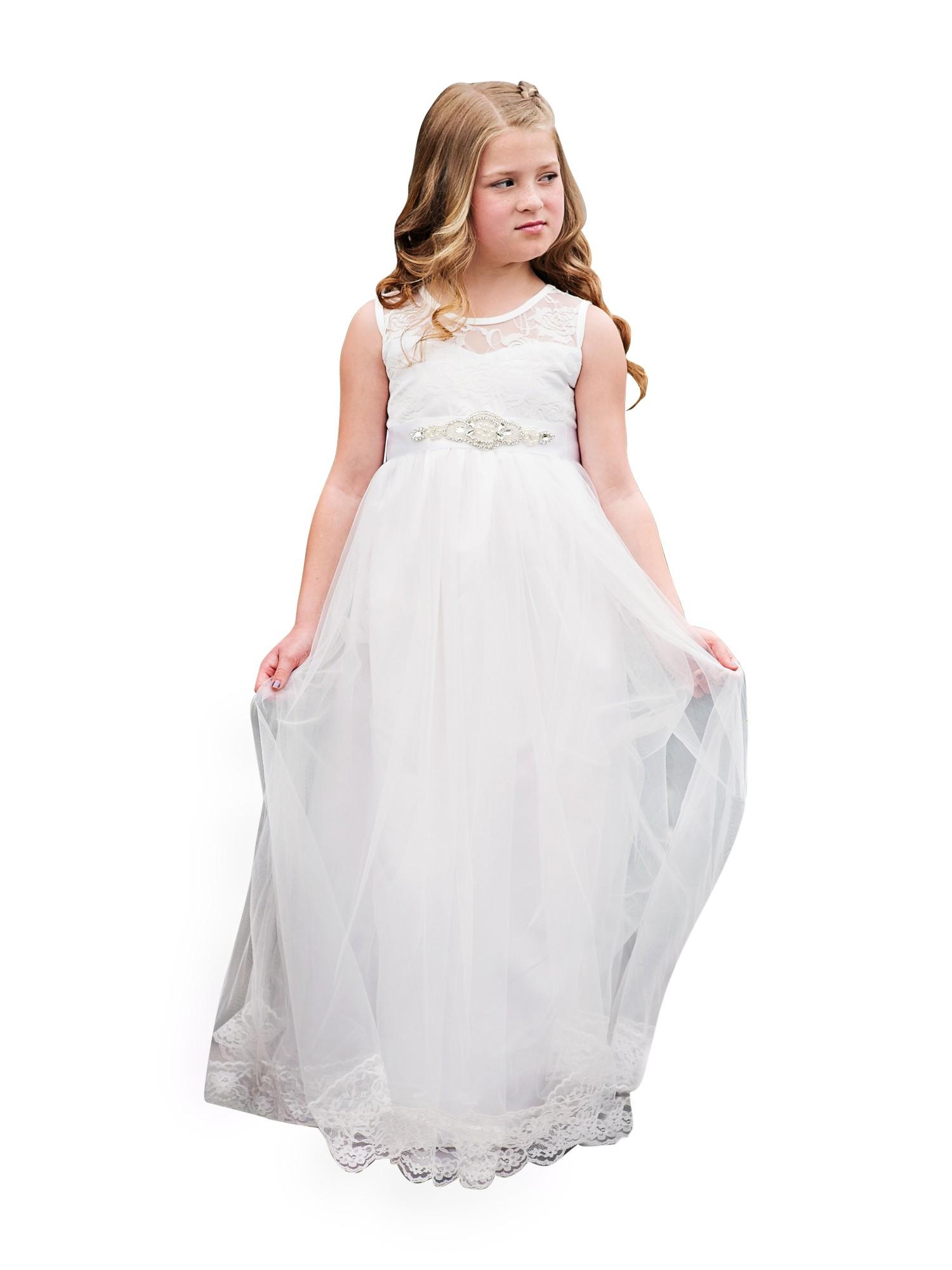 6f5f2a4b5ee Little Girls White Sash Lace Bow Floor Length Scarlett Flower Girl Dress -  Walmart.com