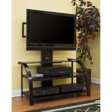Sauder TV Stand with Panel Mount, Black and Dark Espresso with Black Glass for TVs up to 41″