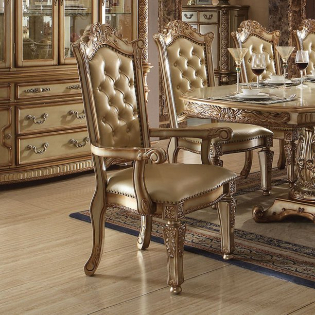 Acme Furniture Vendome Tufted Dining Arm Chairs Set Of 2 Gold Patina Walmart Com Walmart Com