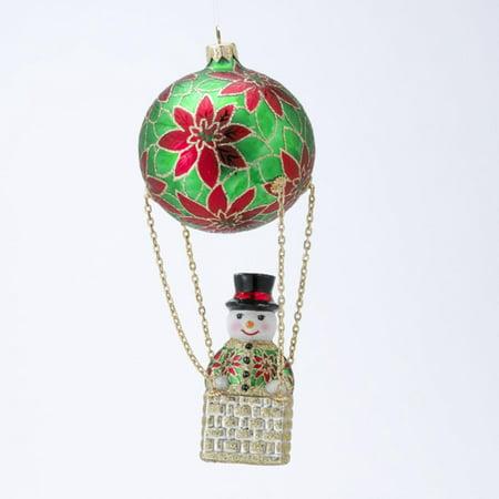 David Strand Designs Glass Frosty Skies Poinsettias Snowman Christmas Ornament - image 1 de 1