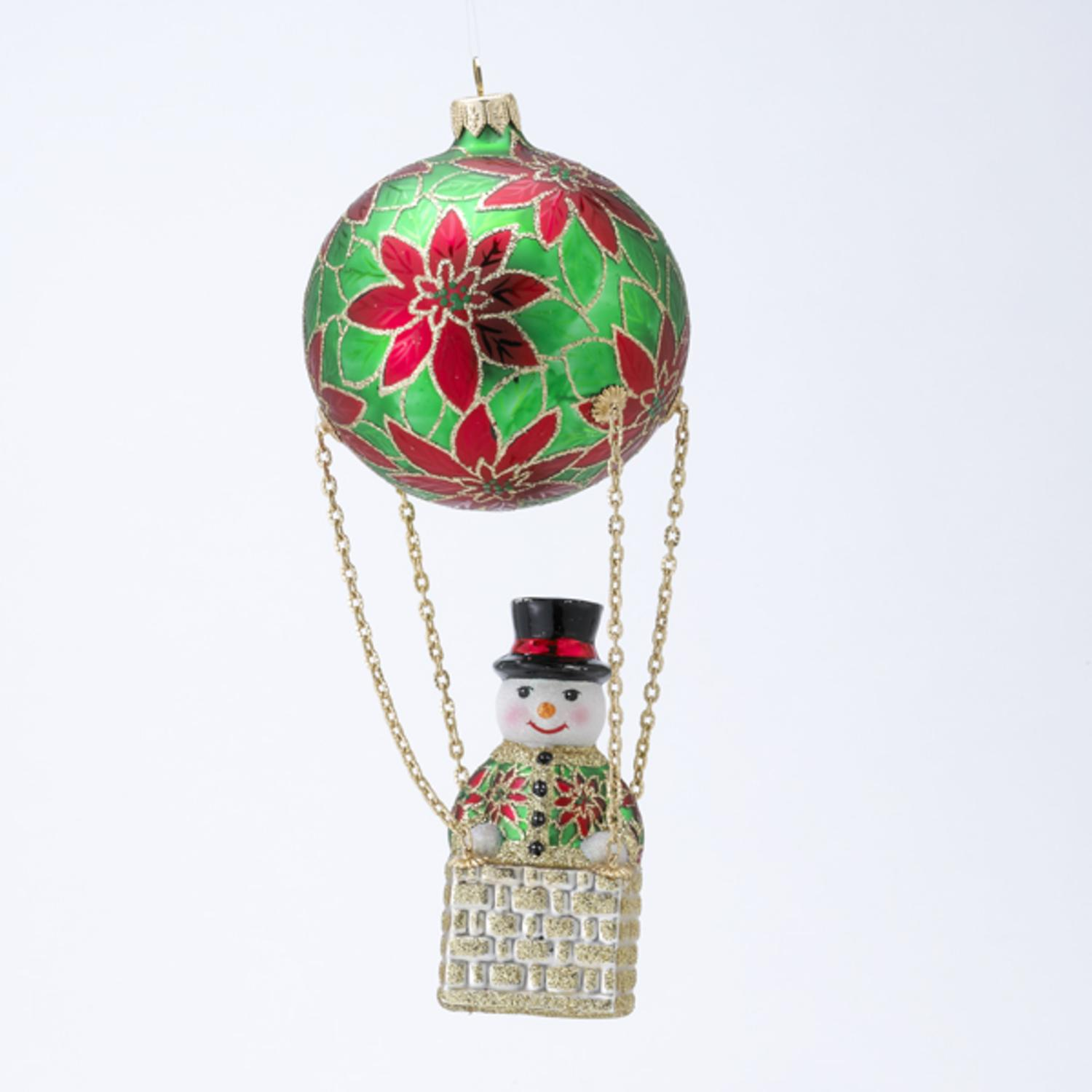 David Strand Designs Glass Frosty Skies Poinsettias Snowman Christmas Ornament