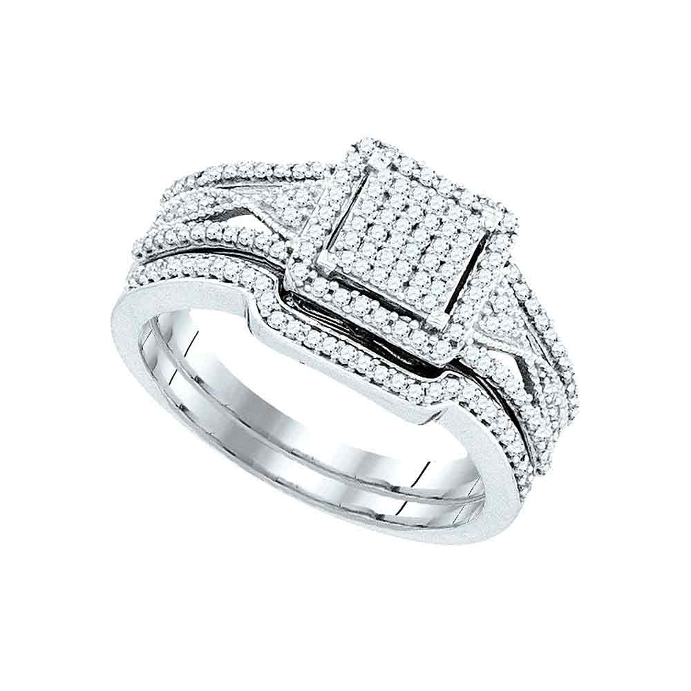 10kt White Gold Womens Diamond Cluster Bridal Wedding Engagement Ring Band Set 3 8 Cttw by GND