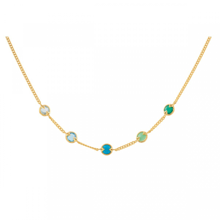 18kt Vermeil Aquamarine, Blue Topaz, Turquoise, Chrysoprase & Green Onyx 16 Necklace 69697   18Kt Yellow Vermeil  ... by Midwest Jewellery