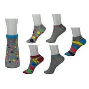 Womens 6 Pair Pack Neon & Grey Assorted Pattern Anklet Socks