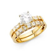 14K Solid Yellow Gold 1.20 cttw Good Cut Cubic Zirconia Wedding Engagement 2 Piece Bridal Ring Set,