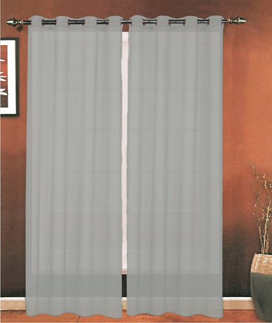 Celine Linen 174 Luxury 2 Piece Grommet Sheer Panel Curtain