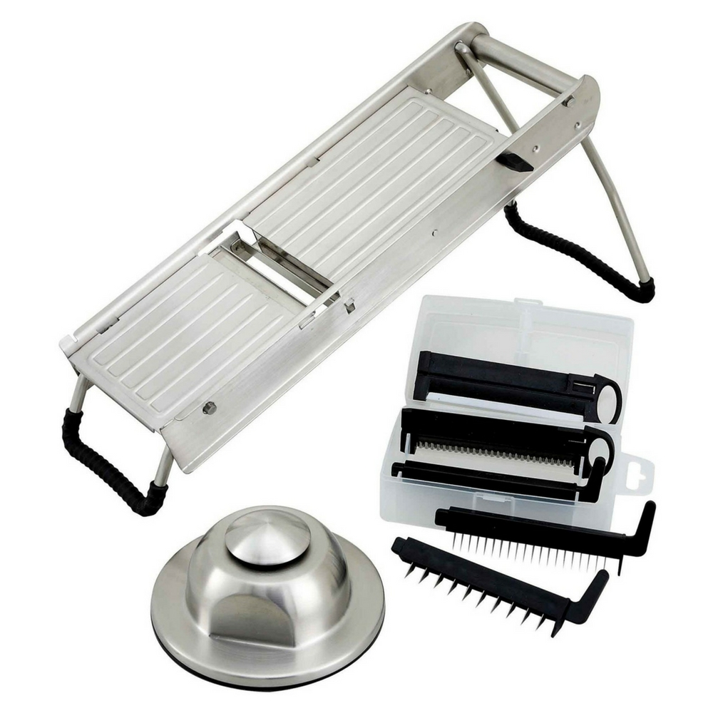 Winco Stainless Steel Mandoline Slicer Set with Hand Guard and Blade Set | 1/Each